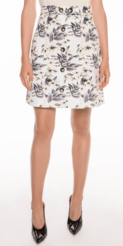 Skirts | Tropical Ottoman Button Front Skirt
