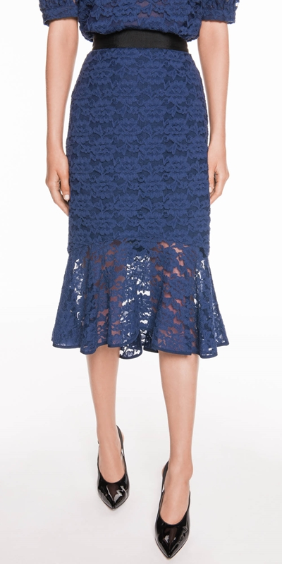 Skirts  | Cotton Lace Fluted Midi Skirt
