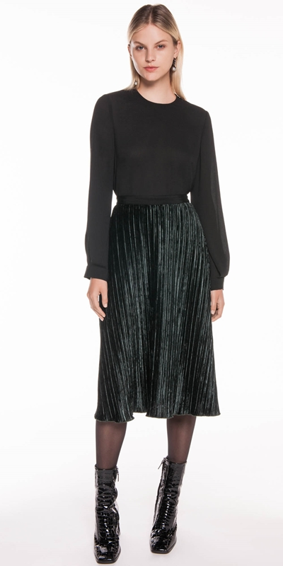 Skirts | Pleated Velvet Midi Skirt