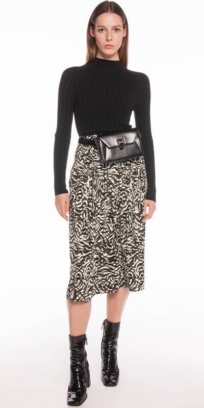 Sale | Olive Animal Print Midi Skirt