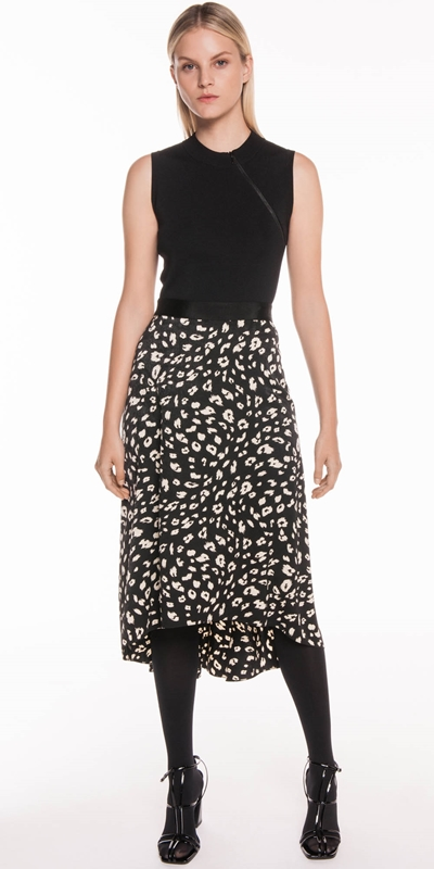 Skirts | Leopard Satin Midi Skirt