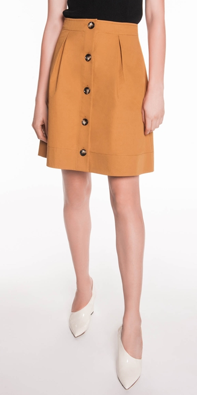 Skirts  | Cotton Twill Button Front Skirt