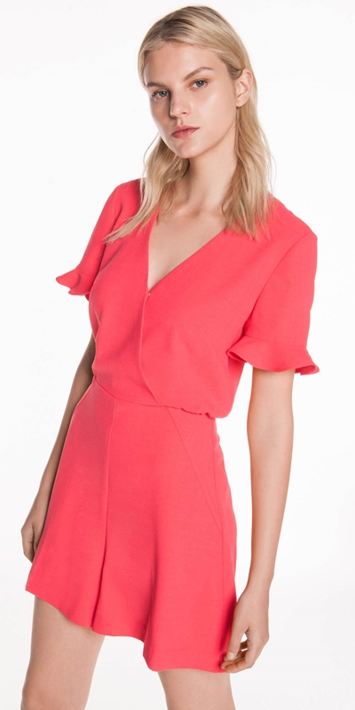Jumpsuits  | Coral Soft Crepe Playsuit