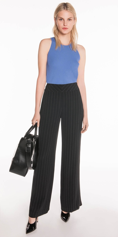Pants | Dotted Stripe Wide Leg Pant