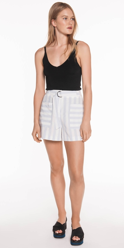Pants | Stripe Linen Belted Short