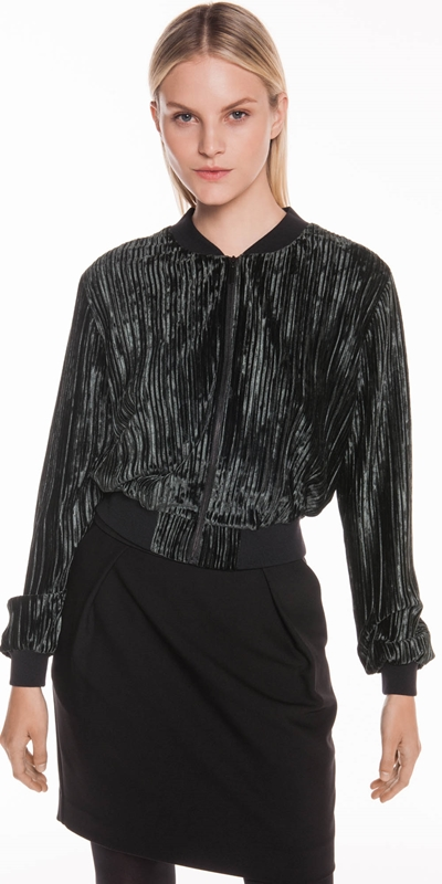 Sale  | Pleated Velvet Bomber Jacket