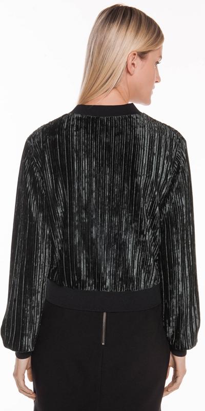 Jackets | Pleated Velvet Bomber Jacket