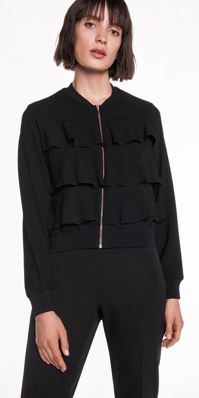 Jackets | Crepe Frill Bomber Jacket