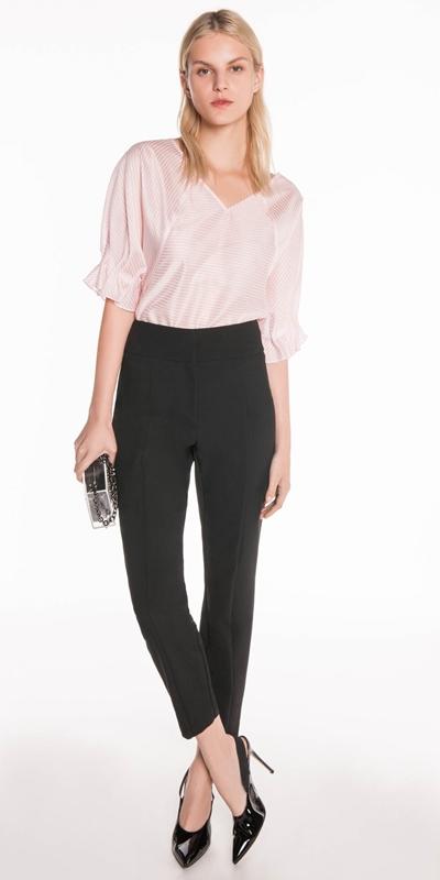 Sale | Stripe Draped Sleeve Top