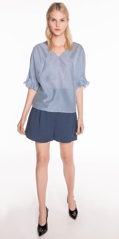 Sale | Stripe Draped Sleeve Top