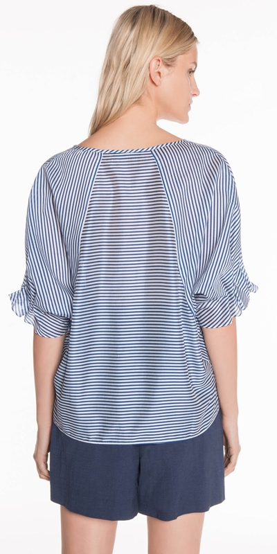 Shirts | Stripe Draped Sleeve Top