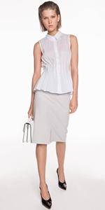 Shirts | Cotton Stripe Peplum Shirt