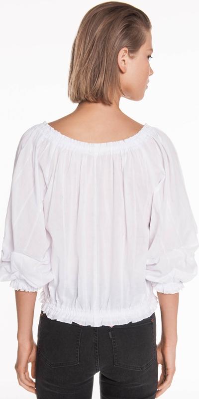 Shirts | Cotton Stripe Off the Shoulder Top