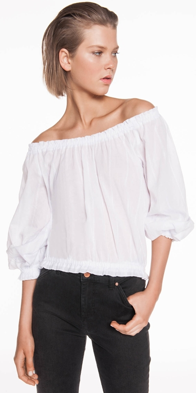Tops | Cotton Stripe Off the Shoulder Top