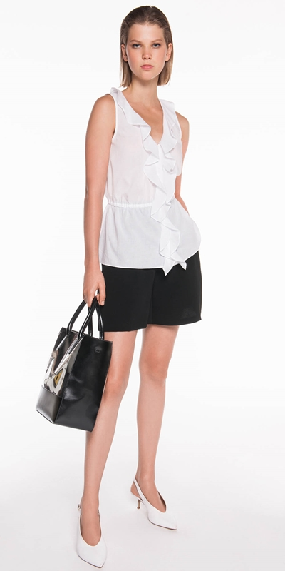 Tops | Textured Voile Frill Top