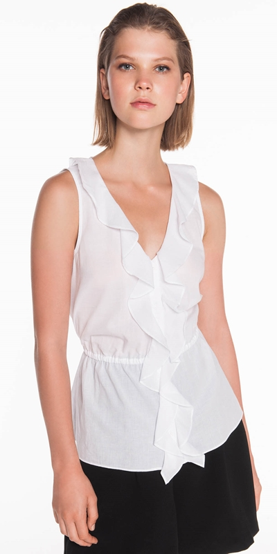 Shirts  | Textured Voile Frill Top