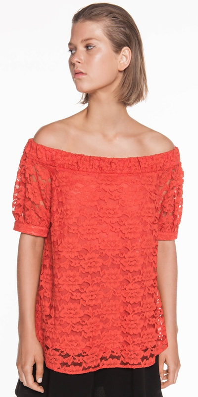 Sale  | Cotton Lace Off the Shoulder Top
