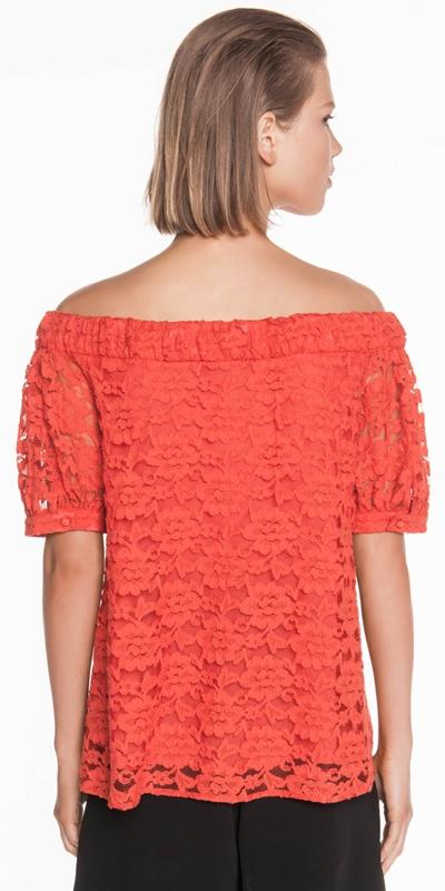 Shirts | Cotton Lace Off the Shoulder Top