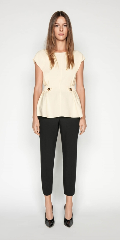 Shirts | Lemon Faille Button Tab Top