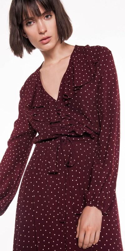 Wear to Work  | Spot Crepe Wrap Dress