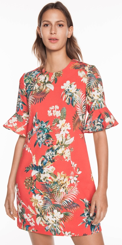 Sale  | Tropical Floral Fluted Sleeve Dress