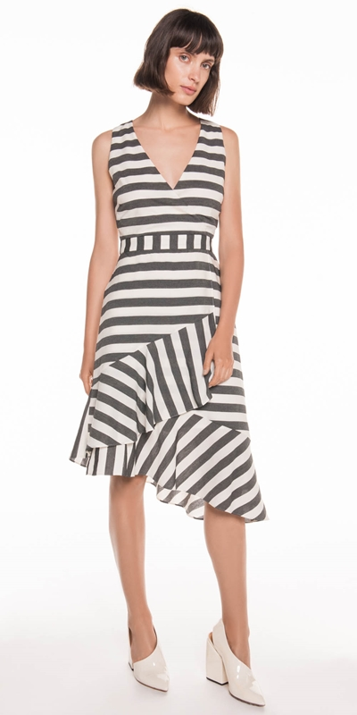 Sale | Monochrome Stripe Frill Hem Dress
