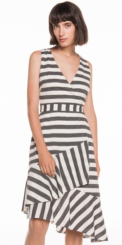 Dresses  | Monochrome Stripe Frill Hem Dress