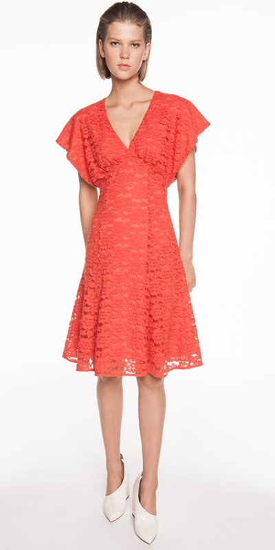 Sale | Cotton Lace Fluted Sleeve Dress