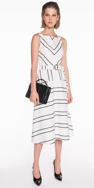Dresses | Jacquard Stripe Viscose Dress