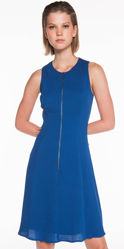 Dresses | Crinkle Georgette Zip Front Dress