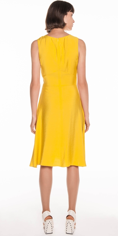 Dresses   Twill Viscose Gathered Front Dress