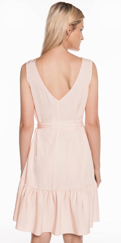 Dresses | Boat Neck Waist Tie Dress