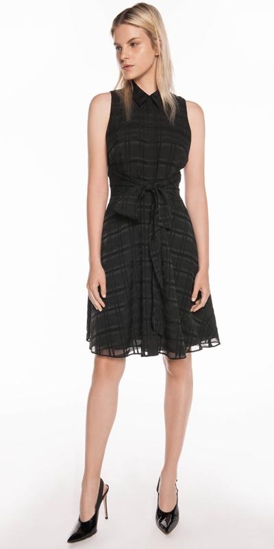 Sale  | Sheer Black Check Tie Dress
