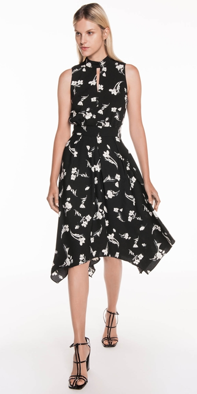 Dresses | Tonal Floral Asymmetric Dress