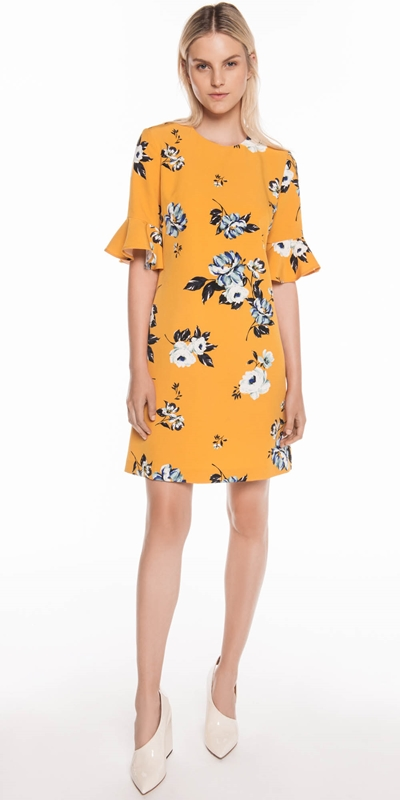 Dresses | Mustard Rose Fluted Sleeve Dress