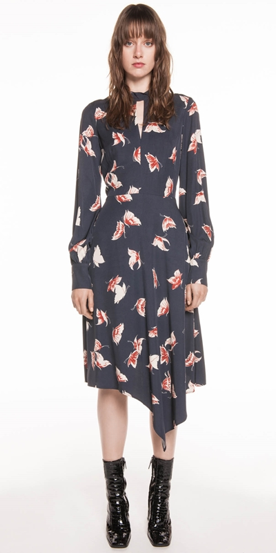 Dresses | Butterfly Twill Asymmetric Hem Dress