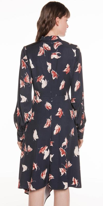 Dresses | Butterfly Twill Asymmetric Hem Dress
