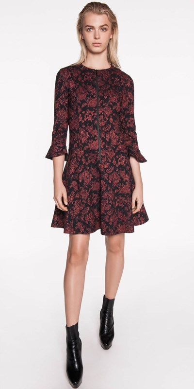 Wear to Work | Metallic Floral Jacquard Dress
