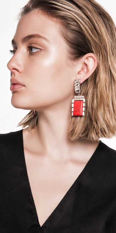 The Party Edit  | Jewelled Block Resin Earrings
