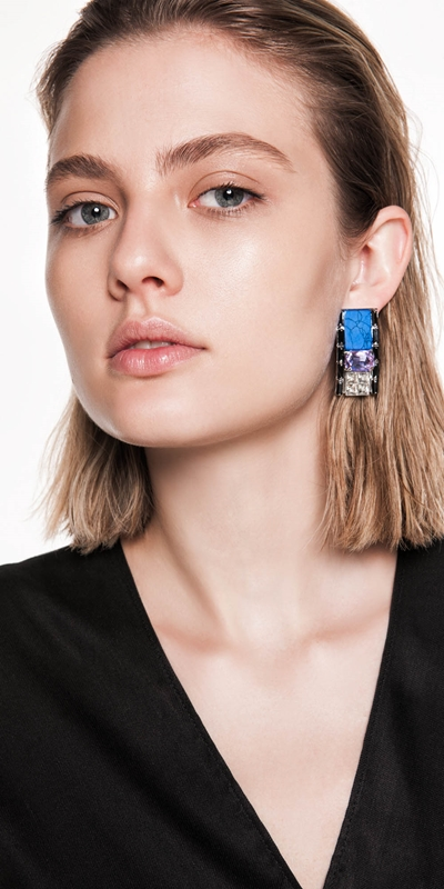 Accessories  | Jewelled Blue Resin Earrings