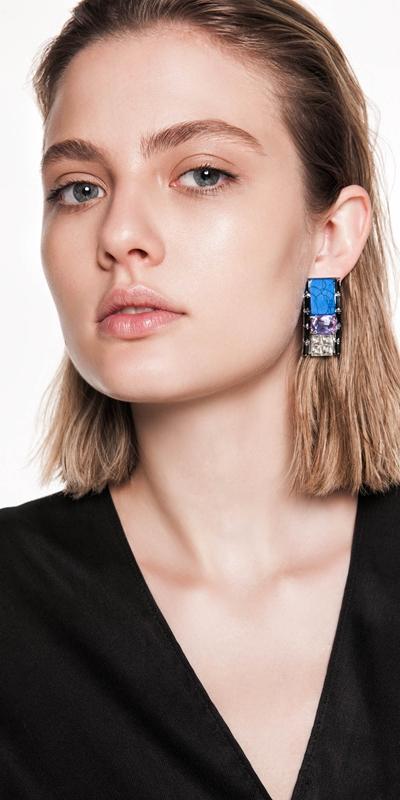 Accessories | Jewelled Blue Resin Earrings