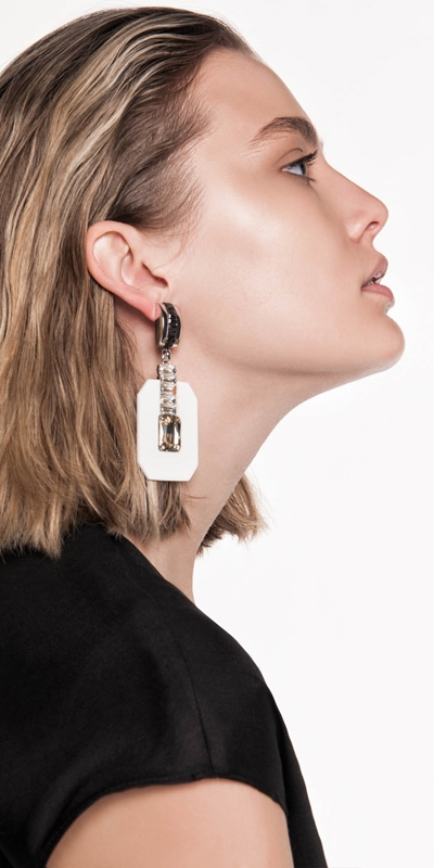 Accessories | White Geometric Resin Earrings