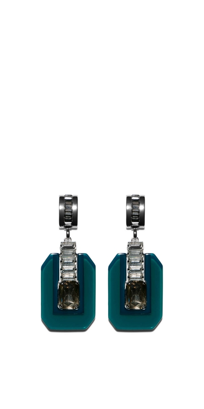 The Party Edit | Emerald Geometric Resin Earrings