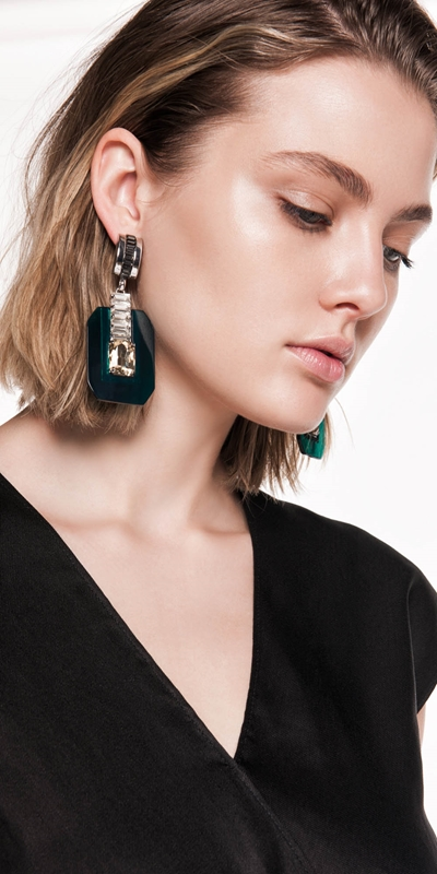 Accessories | Emerald Geometric Resin Earrings
