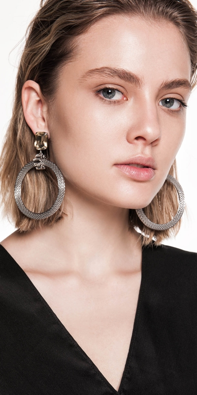 The Party Edit  | Jewelled Mesh Chain Earrings