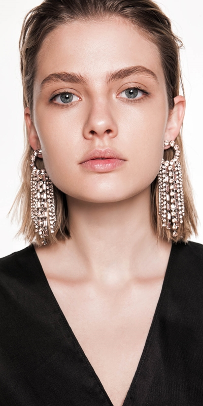 Accessories  | Diamante Circle and Chain Earrings