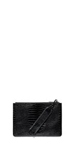 Accessories | Black Croc Envelope Clutch