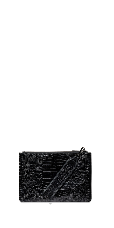 Accessories | Black Croc Envelope Clutch