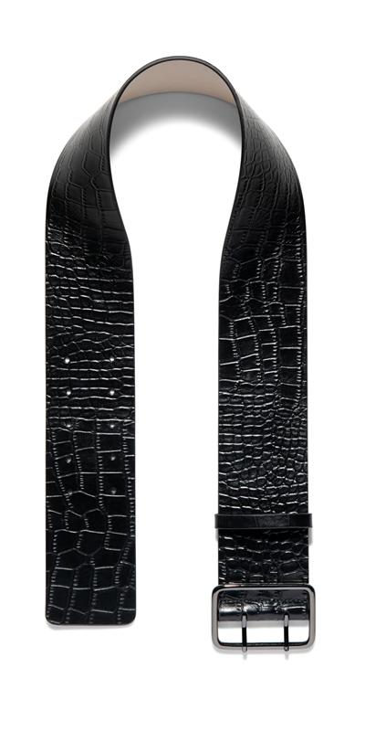 Accessories | Black Croc Wide Belt