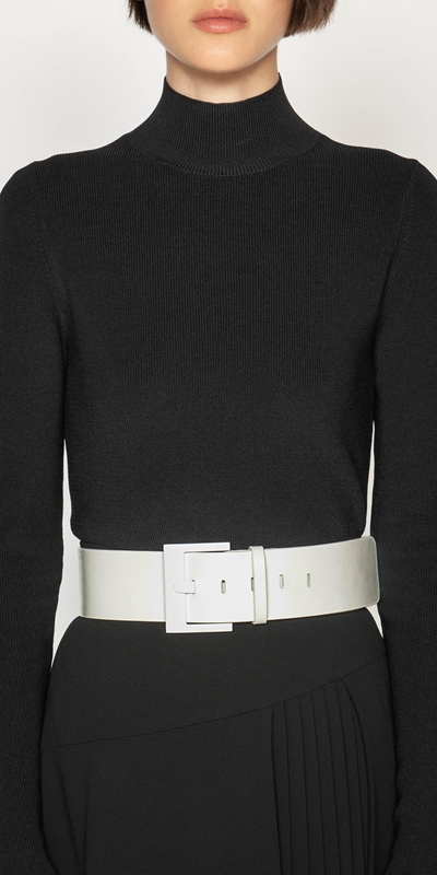Accessories  | Wide Ivory Leather Belt